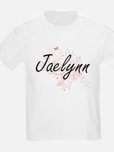 Jaelynn Artistic Name Design with Butterfl T-Shirt