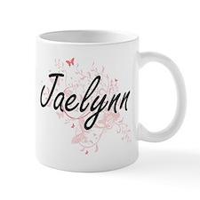 Jaelynn Artistic Name Design with Butterflies Mugs