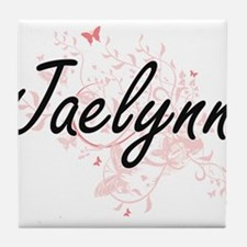 Jaelynn Artistic Name Design with But Tile Coaster
