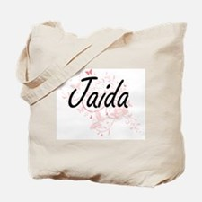 Jaida Artistic Name Design with Butterfli Tote Bag
