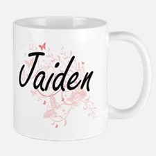 Jaiden Artistic Name Design with Butterflies Mugs