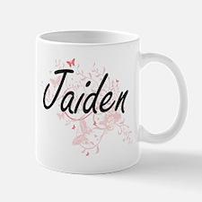 Jaiden Artistic Name Design with Butterflies Mugs