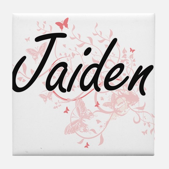 Jaiden Artistic Name Design with Butt Tile Coaster