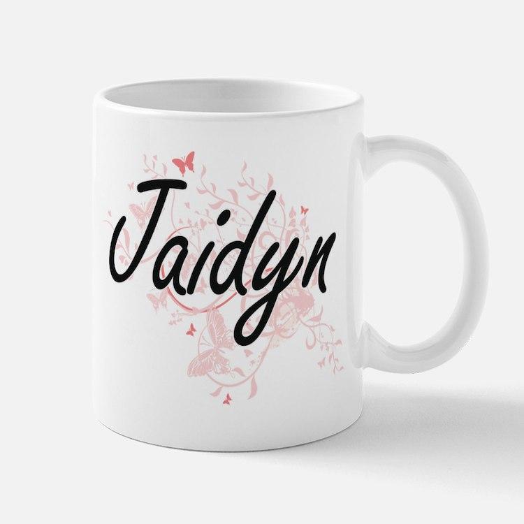 Jaidyn Artistic Name Design with Butterflies Mugs