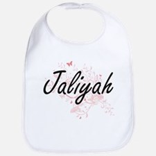 Jaliyah Artistic Name Design with Butterflies Bib