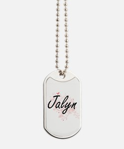 Jalyn Artistic Name Design with Butterfli Dog Tags