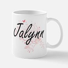Jalynn Artistic Name Design with Butterflies Mugs