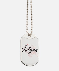 Jalynn Artistic Name Design with Butterfl Dog Tags