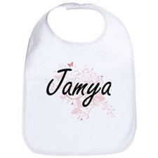Jamya Artistic Name Design with Butterflies Bib