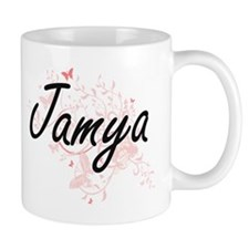 Jamya Artistic Name Design with Butterflies Mugs
