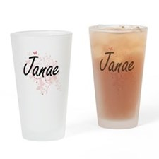 Janae Artistic Name Design with But Drinking Glass