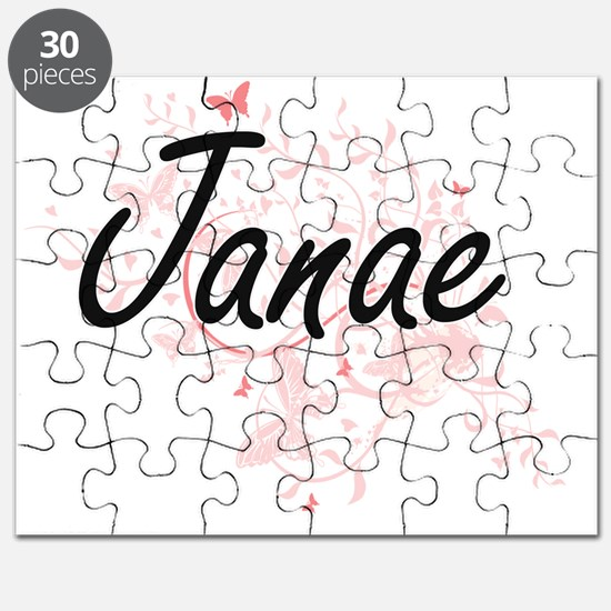 Janae Artistic Name Design with Butterflies Puzzle