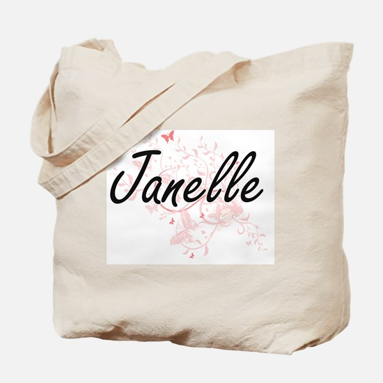 Janelle Artistic Name Design with Butterf Tote Bag