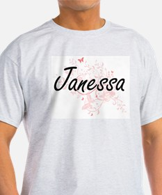 Janessa Artistic Name Design with Butterfl T-Shirt