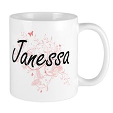 Janessa Artistic Name Design with Butterflies Mugs