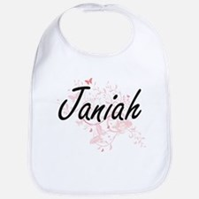 Janiah Artistic Name Design with Butterflies Bib