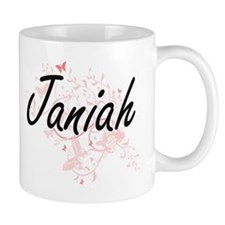Janiah Artistic Name Design with Butterflies Mugs