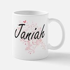 Janiah Artistic Name Design with Butterflies Mugs