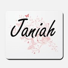Janiah Artistic Name Design with Butterf Mousepad