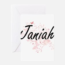 Janiah Artistic Name Design with Bu Greeting Cards
