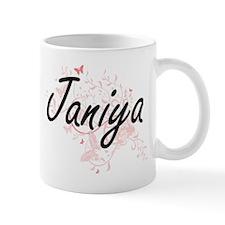 Janiya Artistic Name Design with Butterflies Mugs