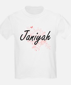 Janiyah Artistic Name Design with Butterfl T-Shirt
