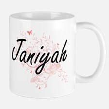 Janiyah Artistic Name Design with Butterflies Mugs