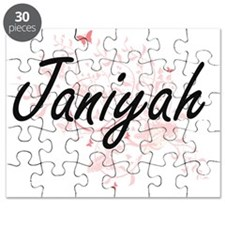 Janiyah Artistic Name Design with Butterfli Puzzle