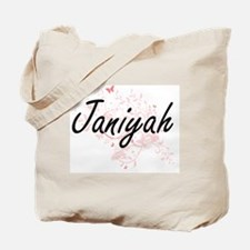 Janiyah Artistic Name Design with Butterf Tote Bag