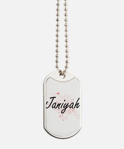 Janiyah Artistic Name Design with Butterf Dog Tags