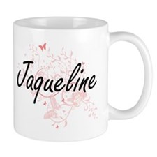 Jaqueline Artistic Name Design with Butterfli Mugs