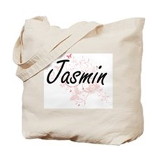 Jasmin Artistic Name Design with Butterfl Tote Bag
