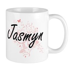 Jasmyn Artistic Name Design with Butterflies Mugs