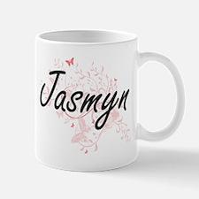 Jasmyn Artistic Name Design with Butterflies Mugs