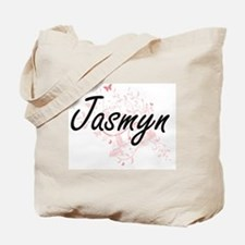 Jasmyn Artistic Name Design with Butterfl Tote Bag
