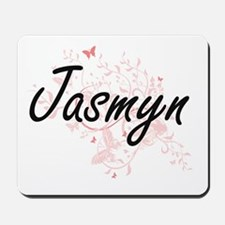 Jasmyn Artistic Name Design with Butterf Mousepad