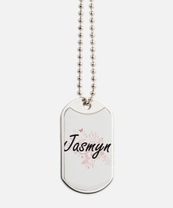 Jasmyn Artistic Name Design with Butterfl Dog Tags