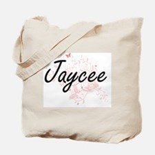 Jaycee Artistic Name Design with Butterfl Tote Bag