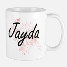 Jayda Artistic Name Design with Butterflies Mugs