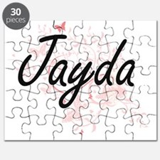 Jayda Artistic Name Design with Butterflies Puzzle