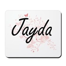 Jayda Artistic Name Design with Butterfl Mousepad