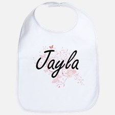 Jayla Artistic Name Design with Butterflies Bib
