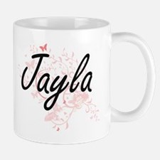 Jayla Artistic Name Design with Butterflies Mugs