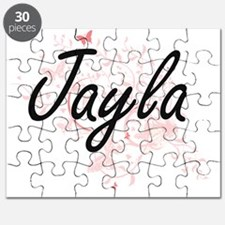 Jayla Artistic Name Design with Butterflies Puzzle