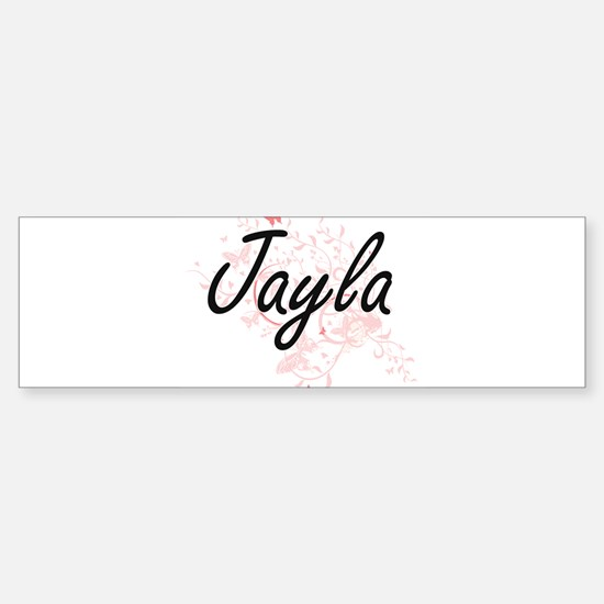 Jayla Artistic Name Design with But Bumper Car Car Sticker