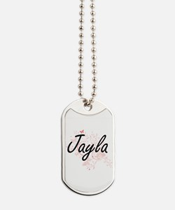 Jayla Artistic Name Design with Butterfli Dog Tags