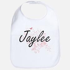 Jaylee Artistic Name Design with Butterflies Bib