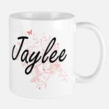 Jaylee Artistic Name Design with Butterflies Mugs