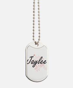 Jaylee Artistic Name Design with Butterfl Dog Tags