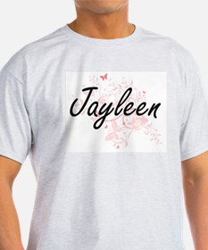 Jayleen Artistic Name Design with Butterfl T-Shirt